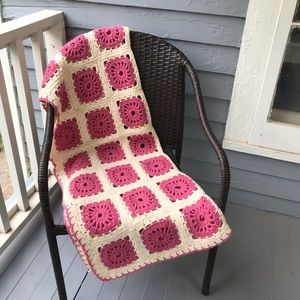 Mauve and Cream Granny Square Knit Afghan Blanket